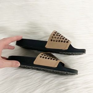 Loeffler Randall Shoes - Loeffler Randall | Beige Perforated Slide Sandals